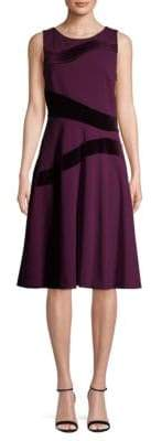 Calvin Klein Velvet Paneled Fit-&-Flare Dress