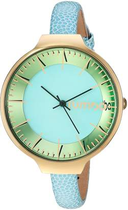 RumbaTime Women's 'Orchard' Quartz Stainless Steel and Leather Casual Watch, Color Blue (Model: 26573)