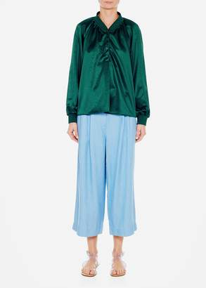 Tibi Chambray Cropped Pleat Pants