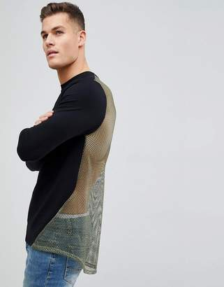 Asos DESIGN Muscle Longline Sweatshirt In Black With Mesh Back