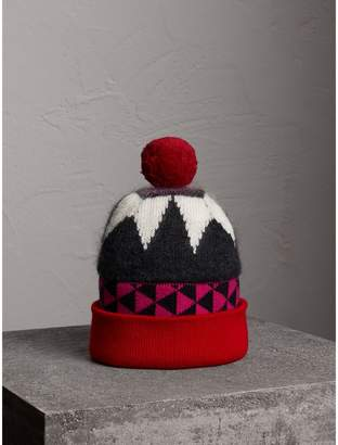 Burberry Geometric Wool Cashmere Blend Beanie
