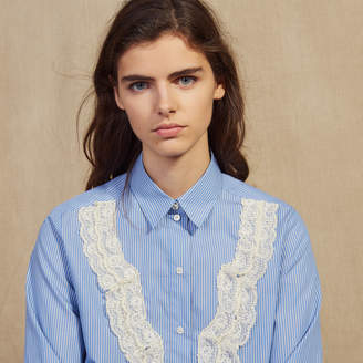 Sandro Shirt With Fine Stripes And Lace