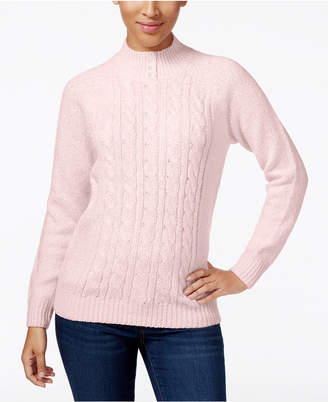 Karen Scott Petite Cable-Knit Mock-Neck Sweater, Created for Macy's