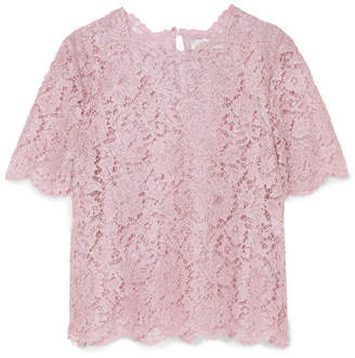 Valentino Scalloped Metallic Corded Lace Top - Lilac