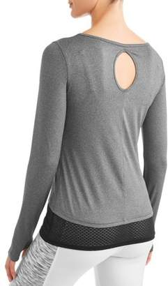 New York Laundry Womens Active Long Sleeve Crew Neck High-Low Tunic With Key Hole