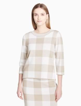 Calvin Klein check crewneck 3/4 sleeve sweater