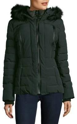 GUESS Faux-Fur Trimmed Puffer Coat