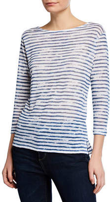 Neiman Marcus Majestic Paris for Boat-Neck 3/4-Sleeve Striped Linen Tee