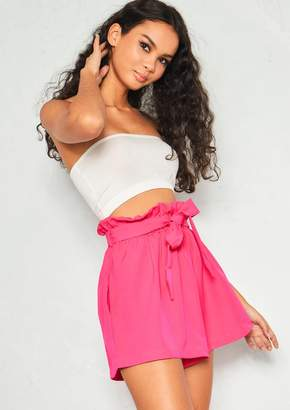 Missy Empire Missyempire Olivia Hot Pink Paperbag Shorts