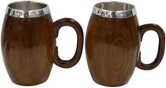 One Kings Lane Vintage Mid-Century Oak Pint Beer Mugs,Pair - Rose Victoria