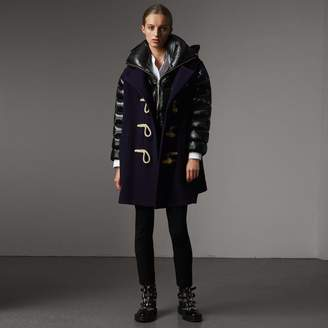 Burberry Detachable Hood Down-filled Sleeve Wool Blend Duffle Coat