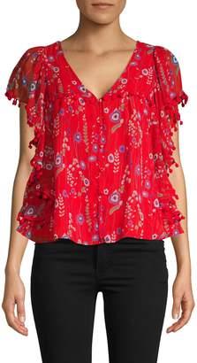 Allison New York Floral Flutter-Sleeve Top