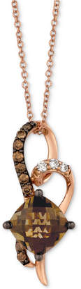 "LeVian Le Vian Chocolatier Chocolate Quartz (2 ct. t.w.) & Diamond (1/6 ct. t.w.) 18"" Pendant Necklace in 14k Rose Gold"