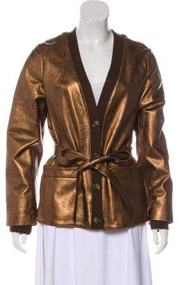 Marc by Marc Jacobs Leather-Wool Knit Cardigan