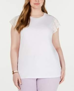 Michael Kors Michael Plus Size Cotton Lace-Sleeve T-Shirt