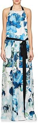 BY. Bonnie Young BY. BONNIE YOUNG WOMEN'S FLORAL SILK APRON DRESS - BLUE SIZE M