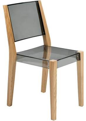 LeisureMod Barker Modern Wooden Dining Kitchen Side Chair in Transparent Black
