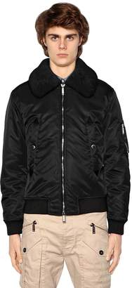DSQUARED2 Nylon Bomber Jacket W/ Shearling Collar