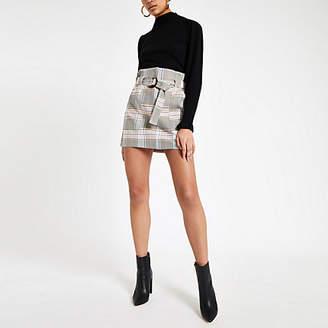 River Island Pink check paperbag mini skirt