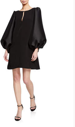 Badgley Mischka Boat-Neck Puff-Sleeve A-Line Mini Cocktail Dress