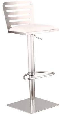 Armen Living Delmar Adjustable Brushed Stainless Steel Barstool, White