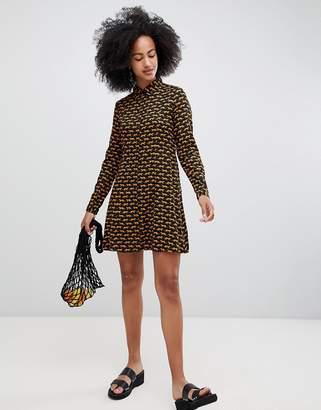 Monki Tiger Print Shirt Dress