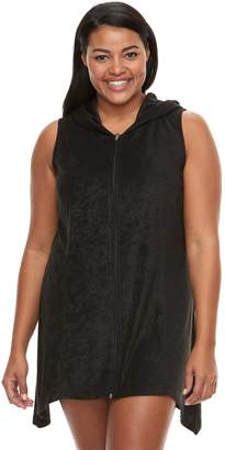 Plus Size Beach Scene Hooded French Terry Cover-Up