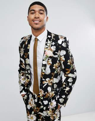 Asos Design DESIGN wedding skinny suit jacket in black foil floral print