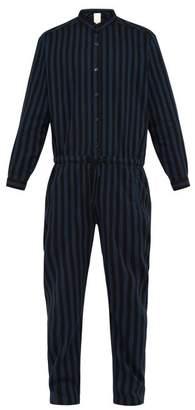 Marrakshi Life - Striped Cotton Blend Drawstring Jumpsuit - Mens - Black Navy