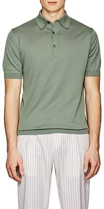 John Smedley Men's Knit Cotton Polo Shirt - Green
