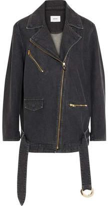 Nanushka - Cite Oversized Denim Biker Jacket - Black