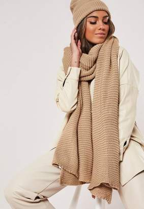 Missguided Camel Knit Hat And Scarf Set