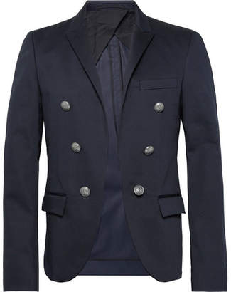 Balmain Navy Slim-Fit Double-Breasted Cotton-Blend Blazer