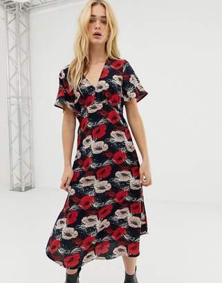 Vero Moda poppy print midi dress