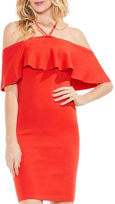 Vince Camuto Cold Shoulder Ruffle Sweater Dress