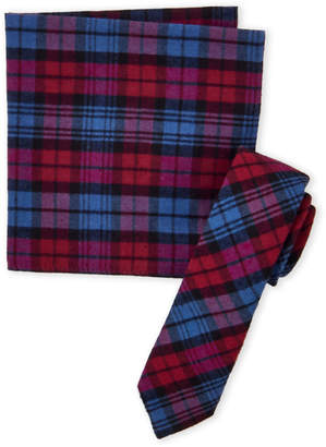 Original Penguin Red & Blue Shield Plaid Tie & Pocket Square Set