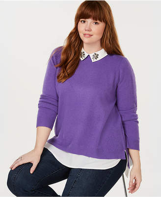 Charter Club Plus Size Cashmere Layered-Look Sweater, Created for Macy's