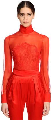 Givenchy Sheer Silk Chiffon & Lace Blouse