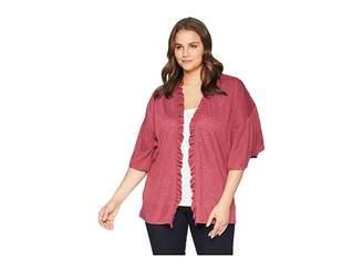 Bobeau B Collection by Plus Size Marianne Ruffle Sleeve Cardigan Women's Sweater