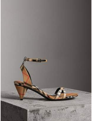 Burberry Vintage Check Cotton Cone-heel Sandals