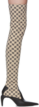 Misbhv Beige and Black Monogram Slicer Thigh-High Boots