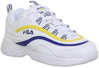 Fila Ray Trainers White Mazarine Blue Lemon