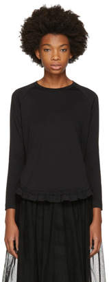 Simone Rocha Black Long Sleeve Smock Ruffle T-Shirt