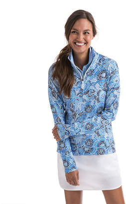 Vineyard Vines Mosaic Floral Print Performance 1/4-Zip