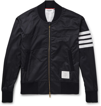 Thom Browne Slim-Fit Striped Ripstop Bomber Jacket $860 thestylecure.com