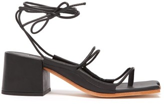 Marques Almeida Marques'almeida - Wraparound Ankle Strap Block Heel Sandals - Womens - Black