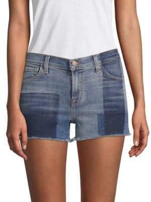 J Brand 1044 Mid-Rise Two-Tone Denim Shorts