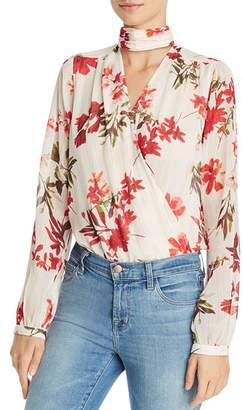 GUESS Camilla Floral Metallic Crossover Bodysuit