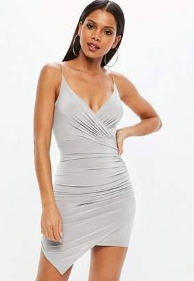 Missguided Gray Strappy Slinky Wrap Bodycon Dress