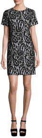Mod Short-Sleeve Lace-Overlay T-Shirt Dress